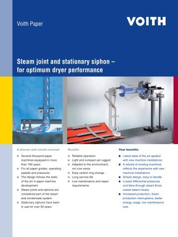 Steam joint and stationary siphon – for optimum dryer ... - Voith