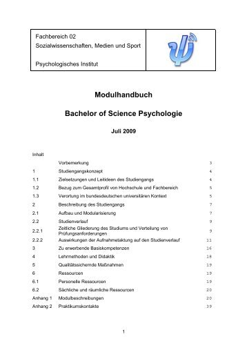 Modulhandbuch Bachelor Of Science Psychologie - im ...