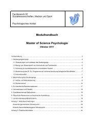 Modulhandbuch Master of Science Psychologie - im ...