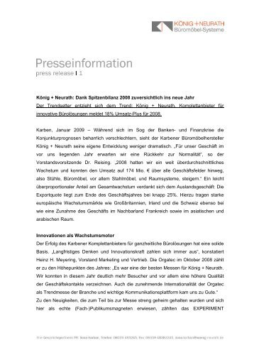 König + Neurath: Dank Spitzenbilanz 2008 ... - Bueroszene.ch