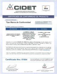 CERTIFICADO DE CONFORMIDAD DE PRODUCTO - inter electricas