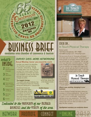 December 2012 - Owatonna Chamber of Commerce and Tourism
