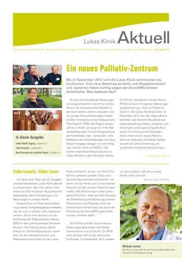 Newsletter Nr. 10/Frühling 2012 (pdf) - Lukas Klinik