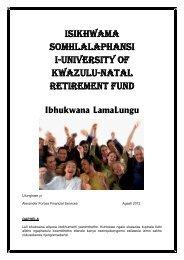 Member Booklet (Zulu Version) - UKZN Retirement Fund - University ...