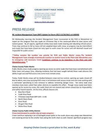 PRESS RELEASE - Chelan County Public Utility District