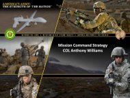 Mission Command Strategy COL Anthony Williams - AFCEA Belvoir