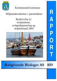 Kristiansund kommune. Miljøundersøkelser i sjøområdene.