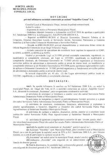 HCL 281-privind infiintarea societatii comerciale pe actiuni Salpitflor ...
