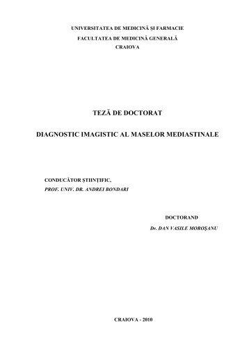 teză de doctorat diagnostic imagistic al maselor mediastinale