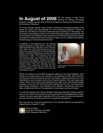Edward Allen BTES 2006 Keynote Speech