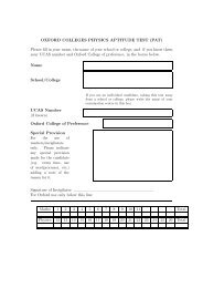 OXFORD COLLEGES PHYSICS APTITUDE TEST (PAT) Please fill ...