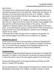 Newsletter - St. Joseph's Catholic Primary School