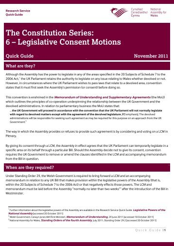 Legislative Consent Motions - National Assembly for Wales