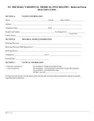 Dialysis Clinic referral form - St. Michael's Hospital