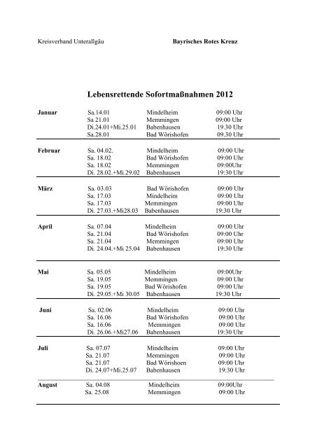 Lebensrettende Sofortmaßnahmen 2012 - Fahrschule Max