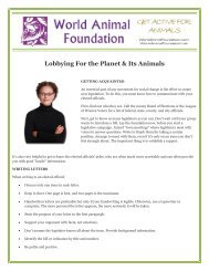 Lobbying For the Planet & Its Animals - World Animal Foundation