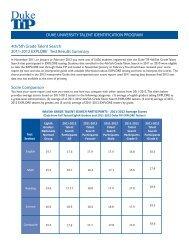 EXPLORE Results Summary PDF - Duke TIP - Duke University
