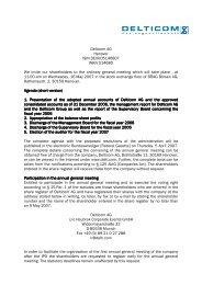 Delticom AG Hanover ISIN DE0005146807 WKN 514680 We invite ...