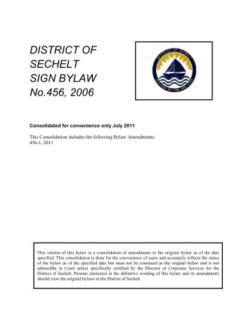 Sign Bylaw - District of Sechelt