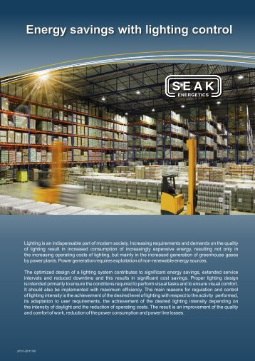 Energy savings with lighting control - SEAK Energetics lighting ...