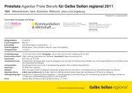 Preisliste Agentur Freie Berufe für Gelbe Seiten regional 2011