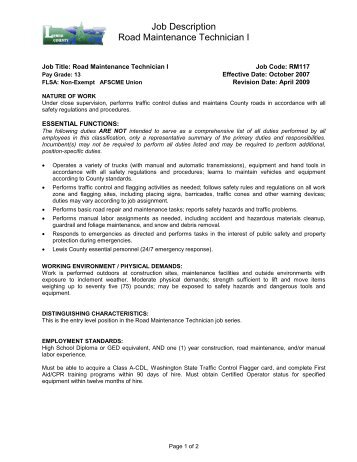 job description road maintenance technician i lewis county controls technician job description - Controls Technician Job Description
