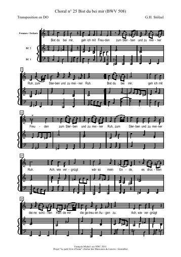 Petit livre d'Anna 25 BWV 508 Choral Bist du bei mir - Queloudilam ...