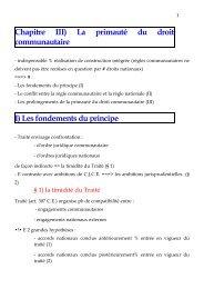 Chapitre III) La primauté du droit communautaire - IREENAT