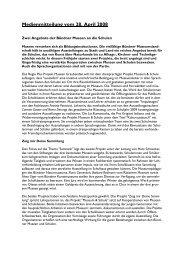Medienmitteilung vom 28. April 2008 - Museenland Graubünden