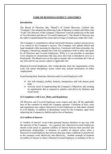 CODE OF BUSINESS CONDUCT AND ETHICS ... - UB Group