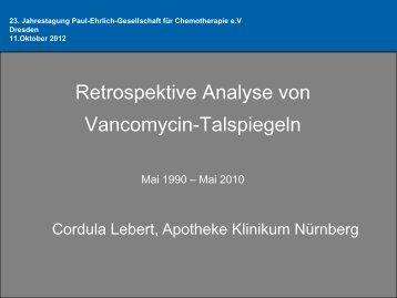 Retrospektive Analyse von Vancomycin-Talspiegeln - PEG-Symposien