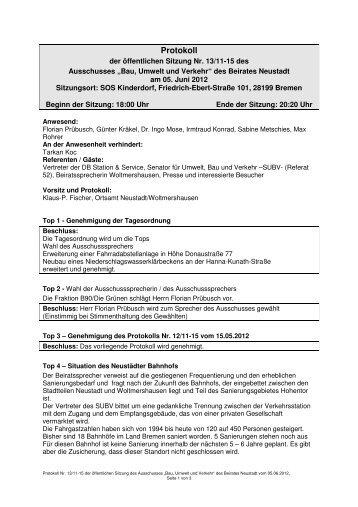 Protokoll der öffentlichen Sitzung vom 05.06.2012 (pdf