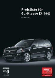 Preisliste für GL-Klasse (X 164)