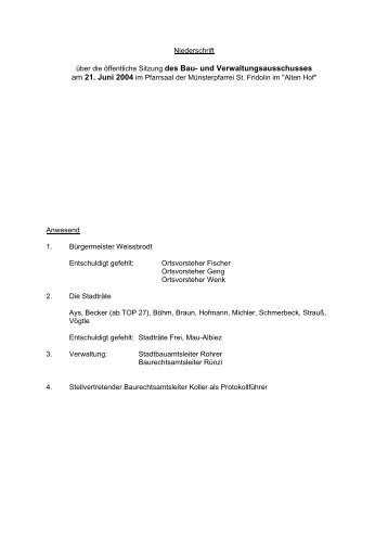 über die öffentliche Sitzung des Bau- und Verwaltungsausschusses