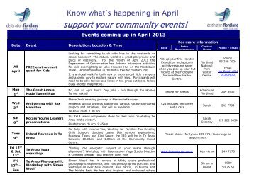 Know what's happening in April - Destination Fiordland