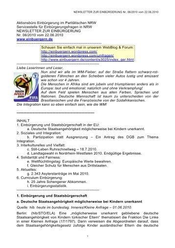 NEWSLETTER ZUR EINBÜRGERUNG Nr. 06/04/2010 vom 22.06 ...