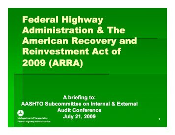 Federal Highway Administration & The American Recovery and ...