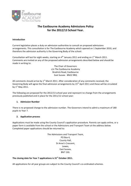 The Eastbourne Academy policy - East Sussex County Council