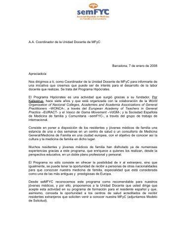 A.A. Coordinador de la Unidad Docente de MFyC Barcelona, 7 de ...