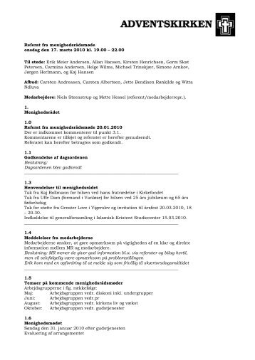 Referat fra menighedsrådsmøde onsdag den 17. marts 2010 kl. 19.00