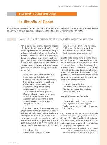 La filosofia di Dante 1..2 - Loescher Editore