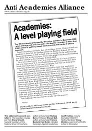 Academies: A level playing field