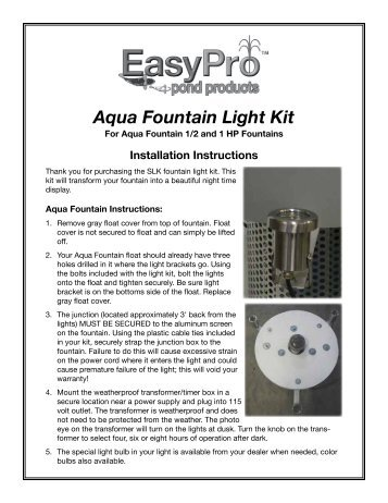 Fountain light kit installation instructions easypro pond products aqua fountain light kit easypro pond products sciox Gallery