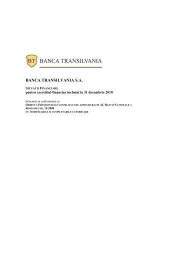 Situatii financiare individuale (RAS) - Banca Transilvania