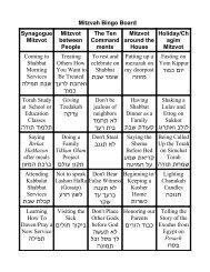 Mitzvah Bingo Board Synagogue Mitzvot The Ten Mitzvot Holiday ...