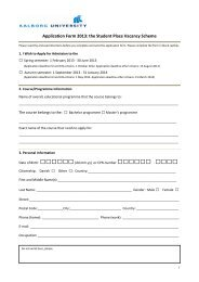 Application Form - Continuing Education - Aalborg University