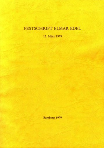 Festschrift Elmar Edel - Giza Archives Project