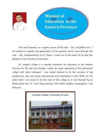 Review of St. Joseph's college - oblate province of jaffna: omi jaffna