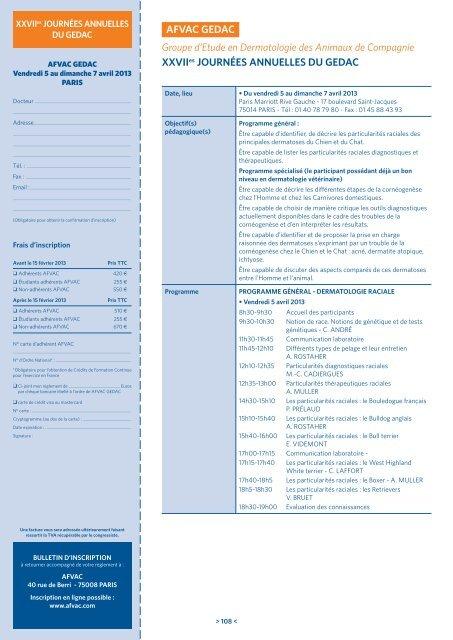 Groupe d'Etude en Dermatologie des Animaux de ... - AFVAC