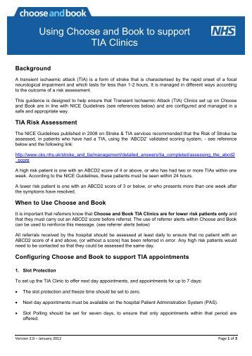 Guidance on using Choose and Book to support TIA clinics v2.0